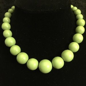 Jewelry - Soft Moss Green Coated Wood Bead Necklace JJ071